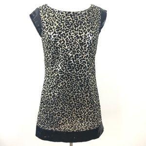 Alberto Makali Leopard Dress Sz 6 Sleeveless Black